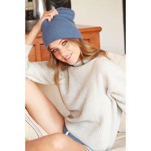 Slouchy Knit Beanie-BLUE